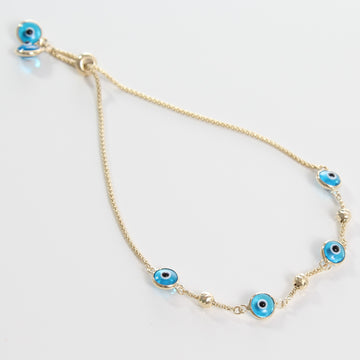 14k Light Blue Evil Eye Beaded Bolo Bracelet