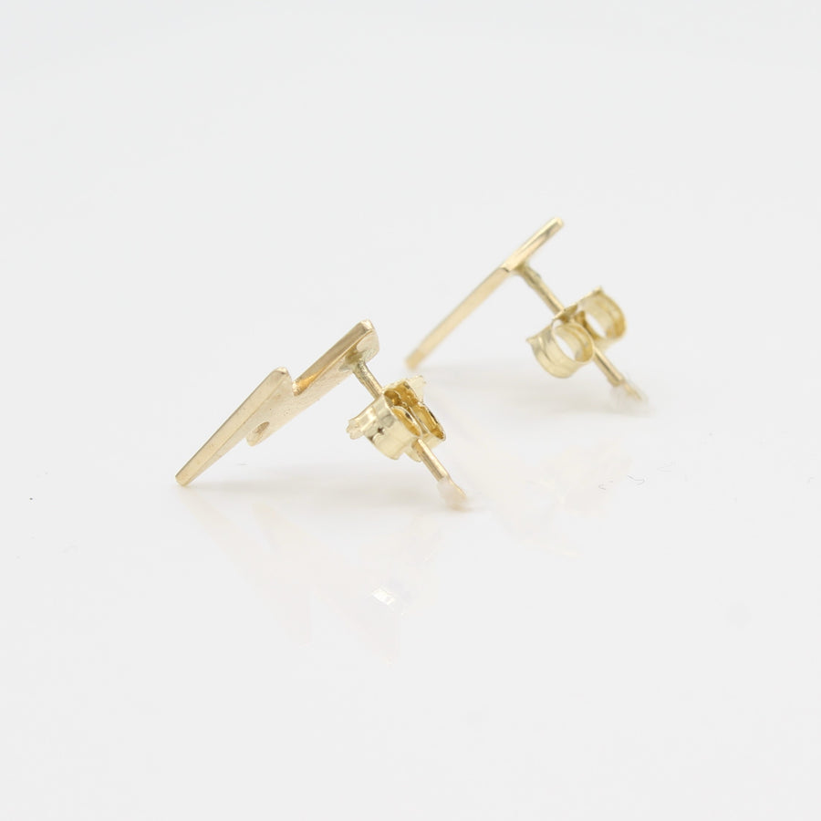 14k Yellow Gold Striking Lightening Bolt Earrings, side view from right with a peak of earring posts and backs.