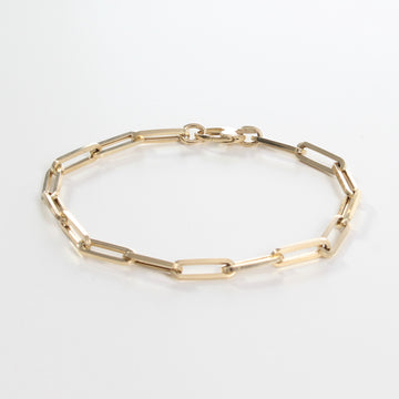 14k Yellow Gold Retro Elongated Link Paperclip Medium Link Bracelet.