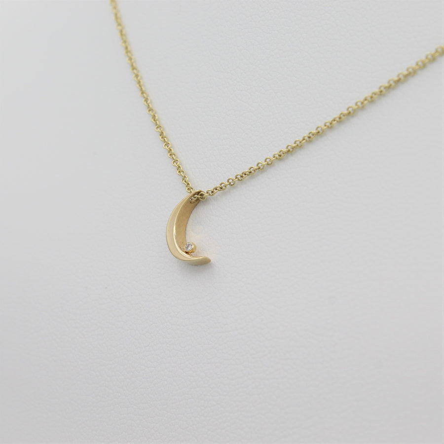 14k Crescent Moon with Diamond Pendant