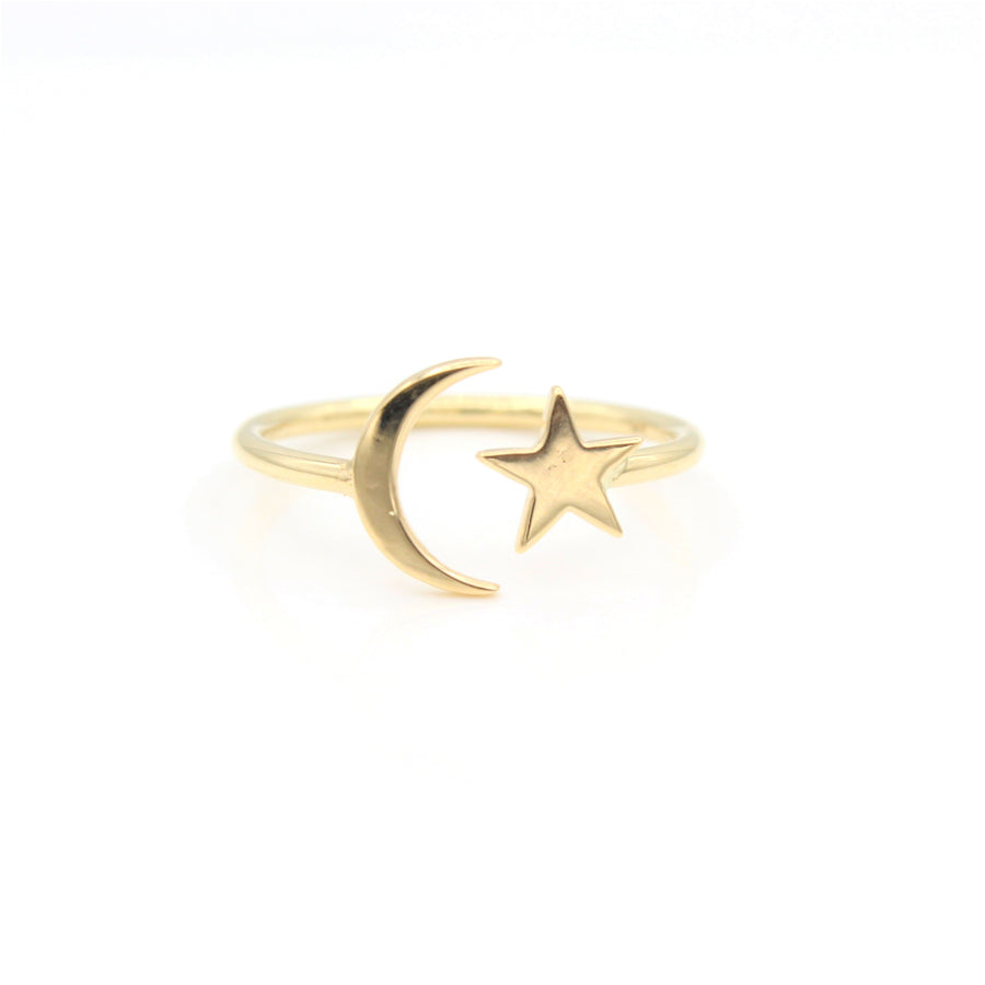 14k Yellow Gold Celestial Star & Moon Open Ring, close-up front view.