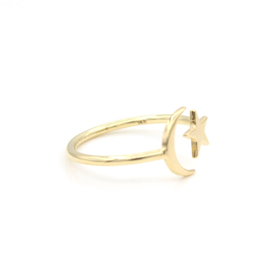 14k Yellow Gold Celestial Star & Moon Open Ring, side view from left.