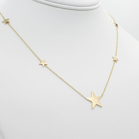 14k Gold North Star Five Station Necklace