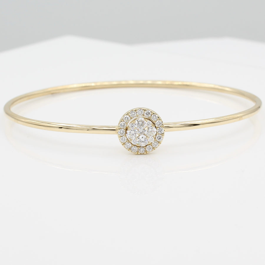 14k Yellow Gold Around & Around Locking Diamond Bangle Bracelet, front view, displayed as a bracelet with the smaller diamond-encrusted circle interlocked with the larger diamond-set circle.