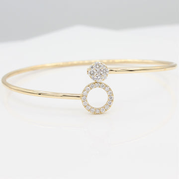 14k Around & Around Locking Diamond Bangle Bracelet