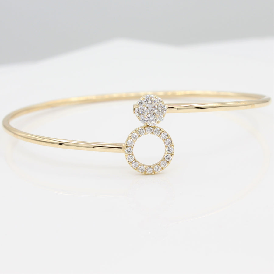 14k Yellow Gold Around & Around Locking Diamond Bangle Bracelet, front view, displayed as a bangle with smaller diamond-encrusted circle stacked on top of larger diamond-set circle.
