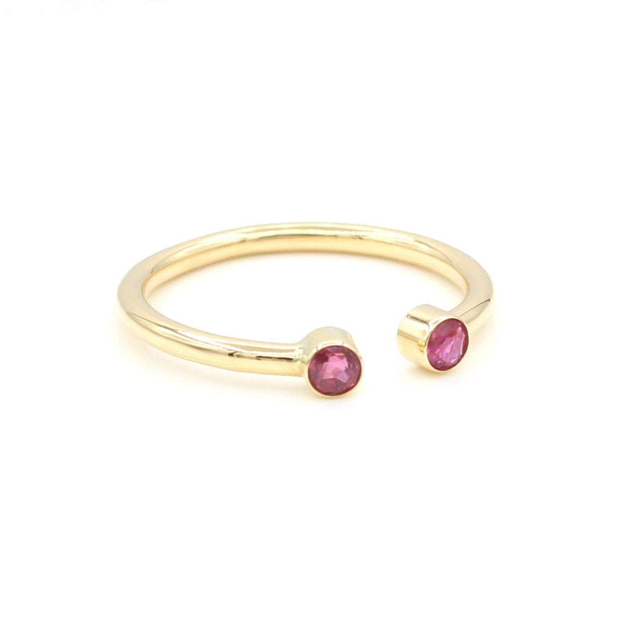 14k Pretty in Pink Bezel-Set Ruby Open Ring
