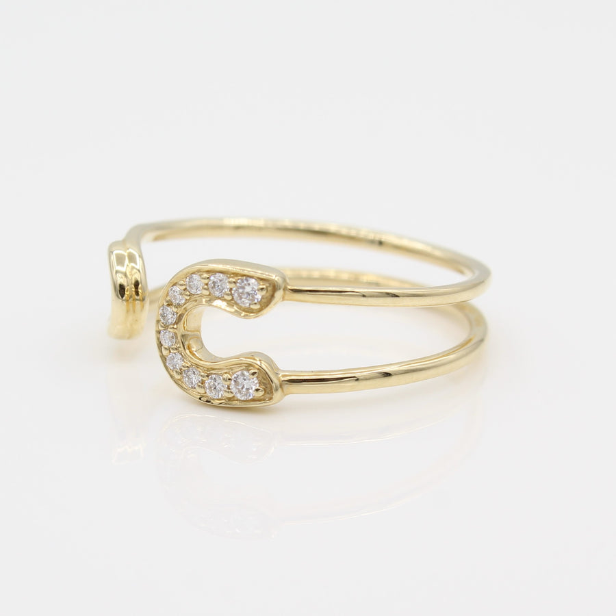 14k Diamond Safety Pin Open Ring