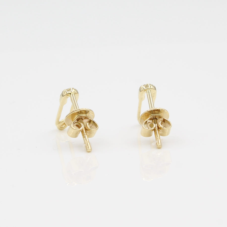 14k Yellow Gold Diamond Safety Pin Stud Earrings, close-up back view highlighting earring posts and backs.
