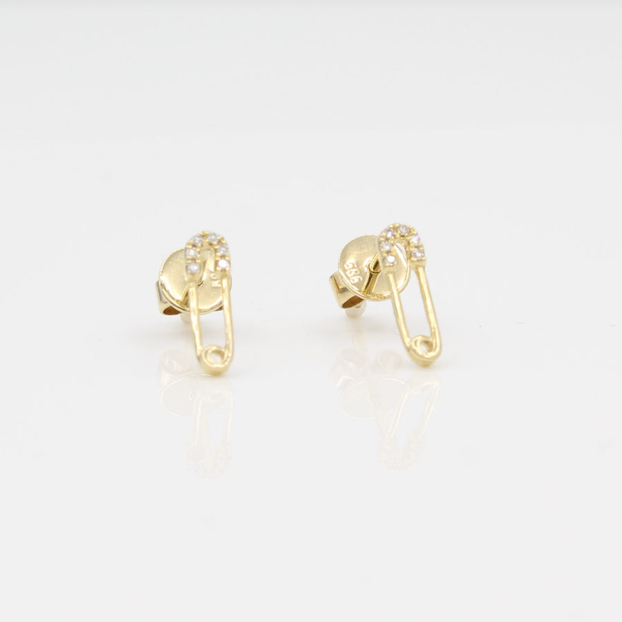 14k Yellow Gold Diamond Safety Pin Stud Earrings.