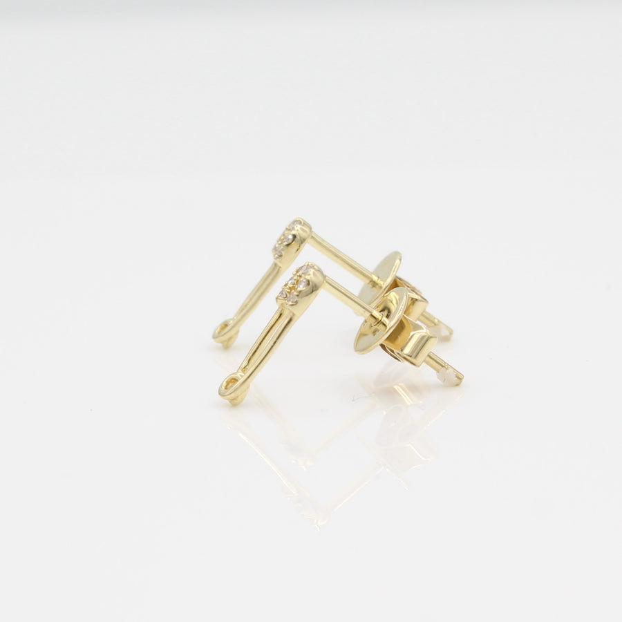 14k Yellow Gold Diamond Safety Pin Stud Earrings, side view from right with a peak of the earring posts and backs.