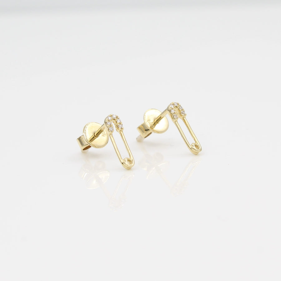 14k Yellow Gold Diamond Safety Pin Stud Earrings, left angle view.