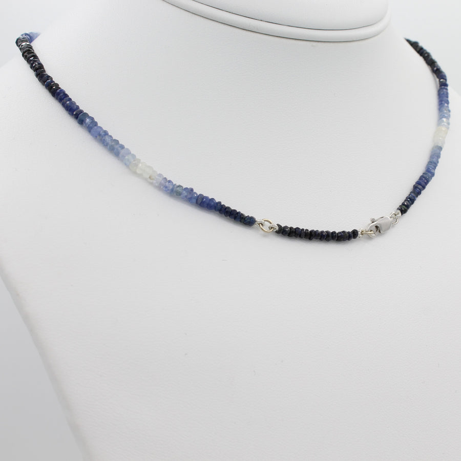 Beauty in Blue 40CT Adjustable Ombre Sapphire Choker Necklace, a view of the necklace's lobster clasp closure.