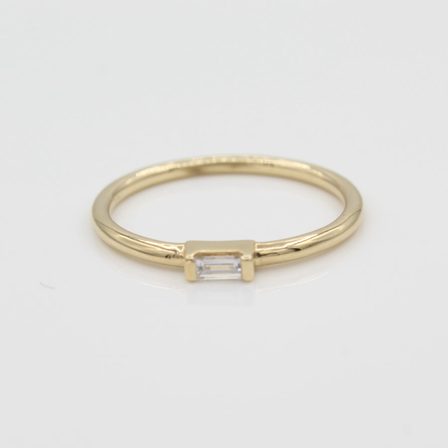 14k Yellow Gold East-West Diamond Baguette Stackable Ring, close-up front view highlighting the diamond design.
