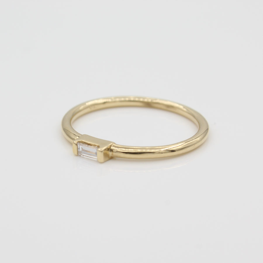 14k Yellow Gold East-West Diamond Baguette Stackable Ring, side view from right.
