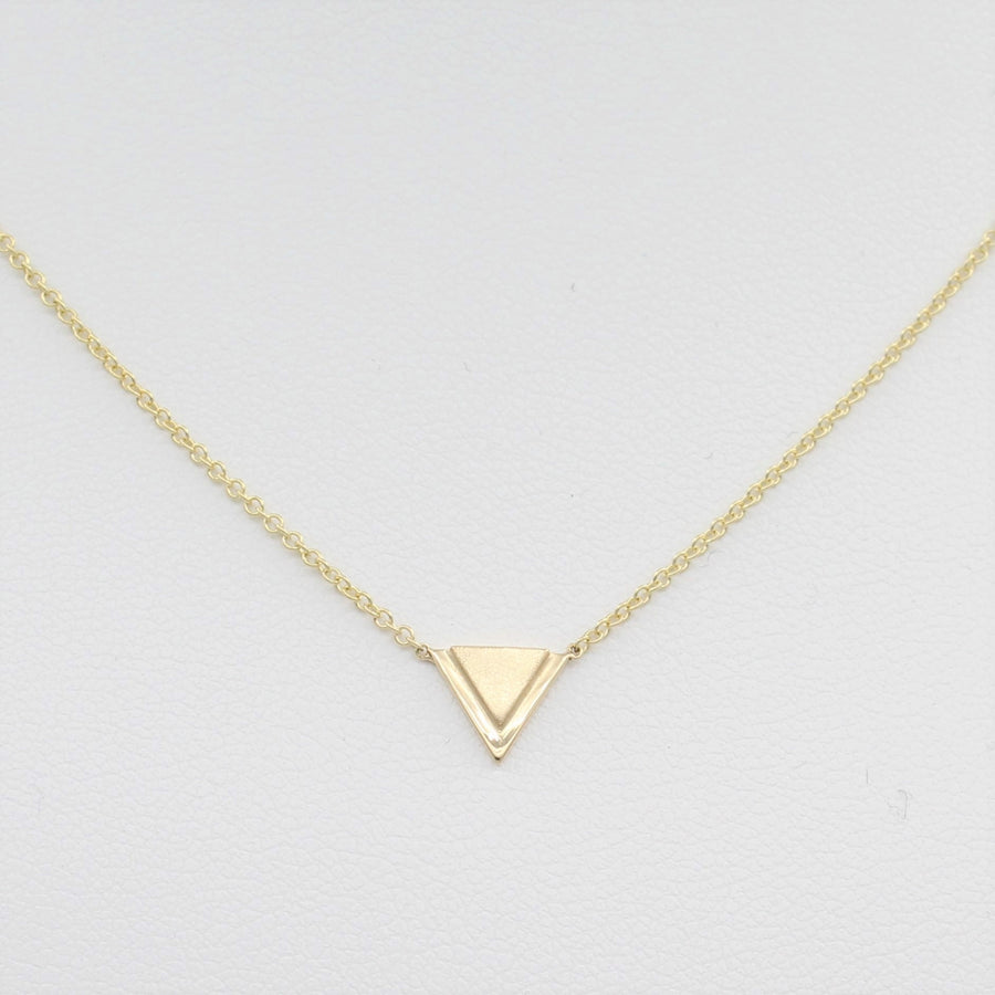 14k Yellow Gold Petite Double Triangle Single Station Pendant, close-up front view of necklace highlighting the double triangle pendant.