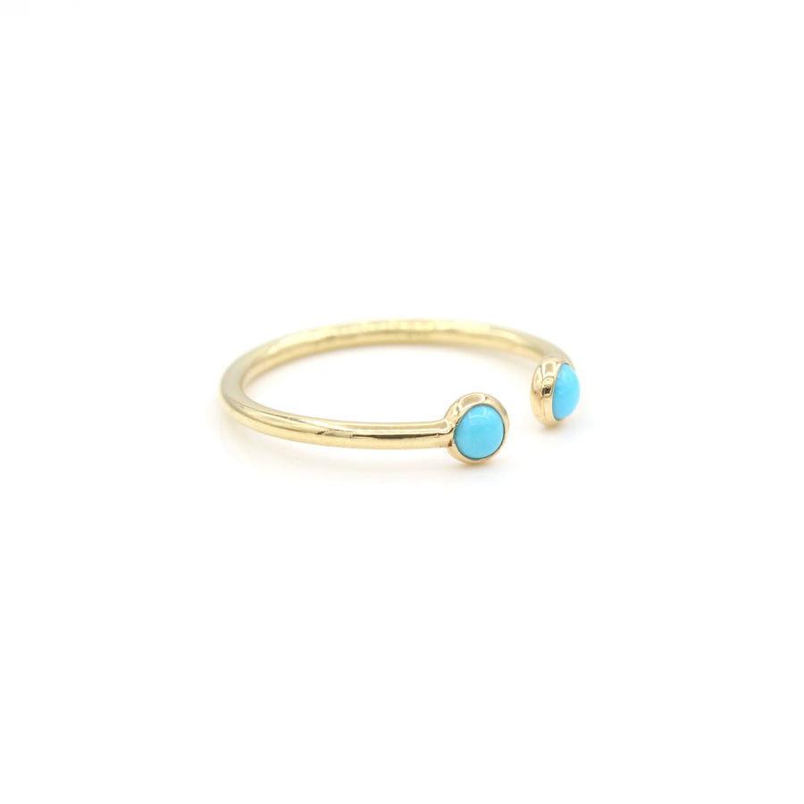 14k Yellow Gold Cabochon Turquoise Open Ring, side view from left.