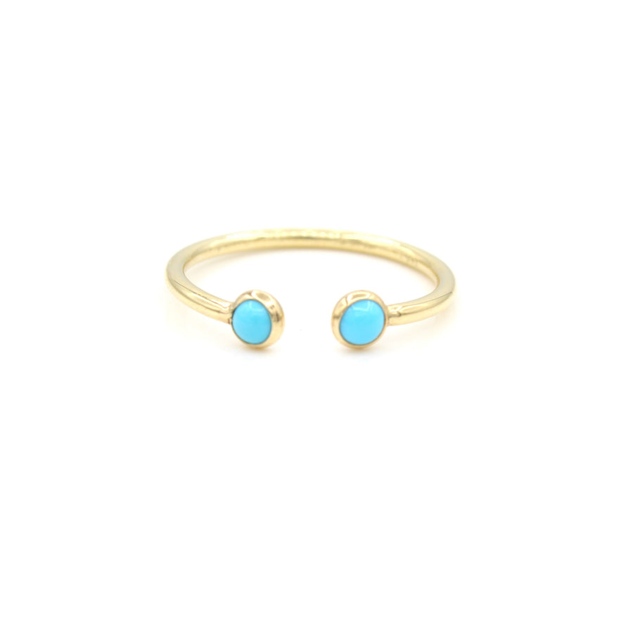 14k Yellow Gold Cabochon Turquoise Open Ring, front view.