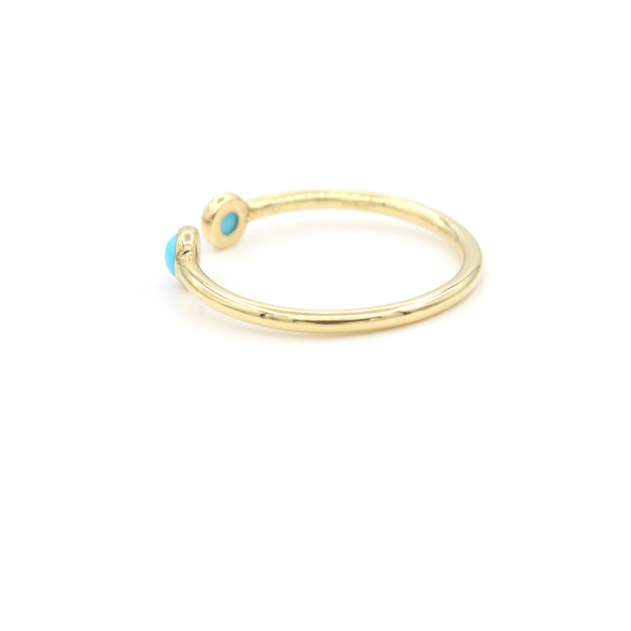 14k Yellow Gold Cabochon Turquoise Open Ring, back view.