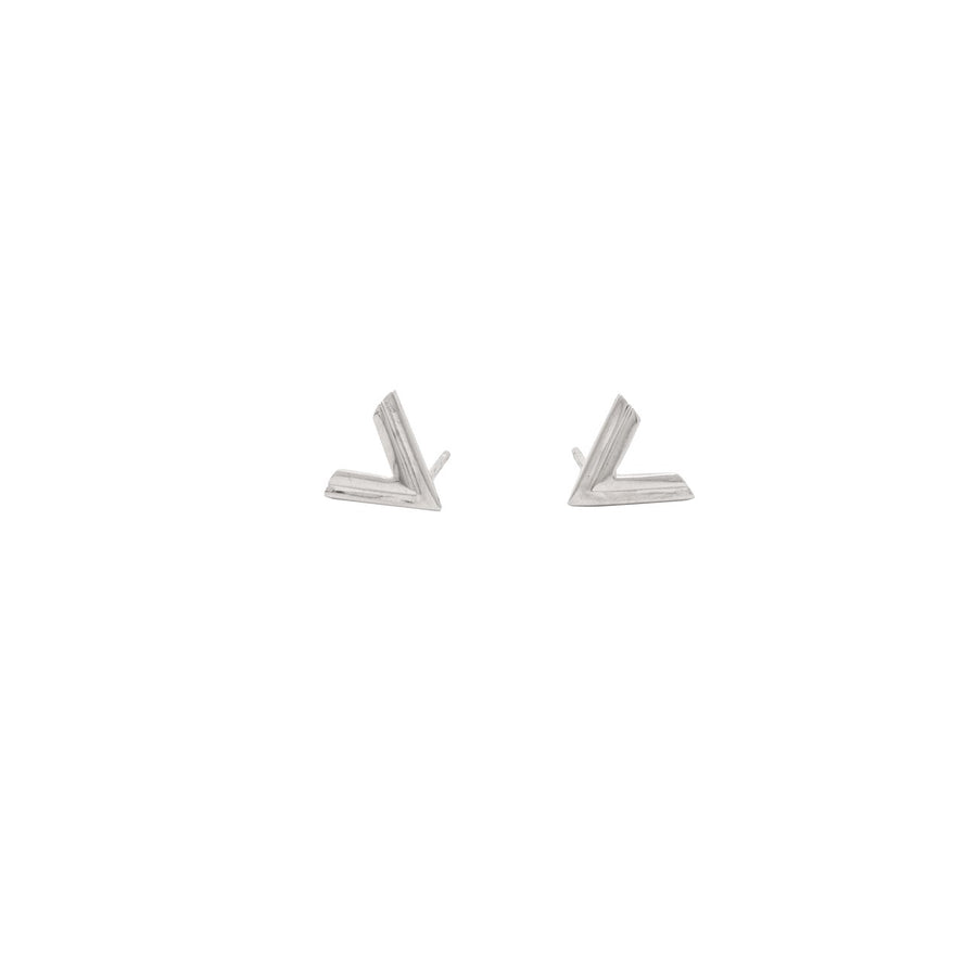 14k White Gold Double Chevron Earrings.