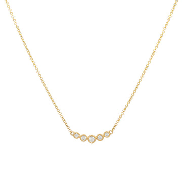 14k Yellow Gold Bezel-Set Graduated Diamond Bar Pendant.