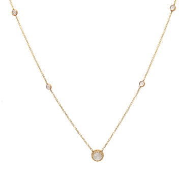 14k Yellow Gold Mystical Moonstone Station Necklace.
