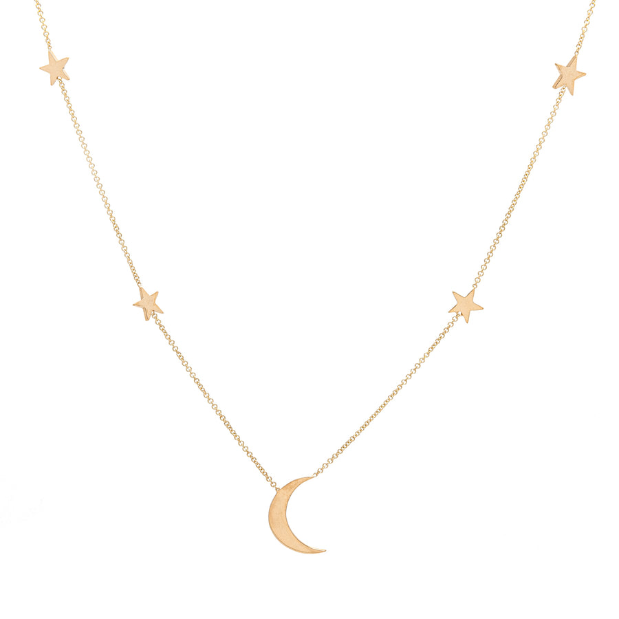14k Yellow Gold Shoot for the Moon Station Necklace.