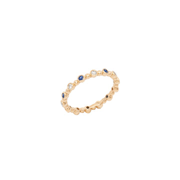 14k Yellow Gold Diamond & Sapphire 14 Station Beaded Eternity Band.