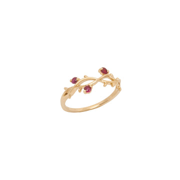14k Yellow Gold Perfectly Perched Ruby Branch Ring.