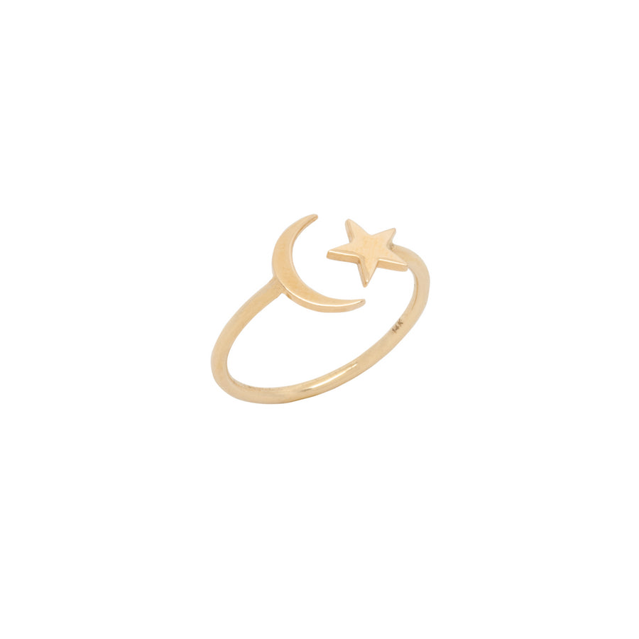 14k Yellow Gold Celestial Star & Moon Open Ring.