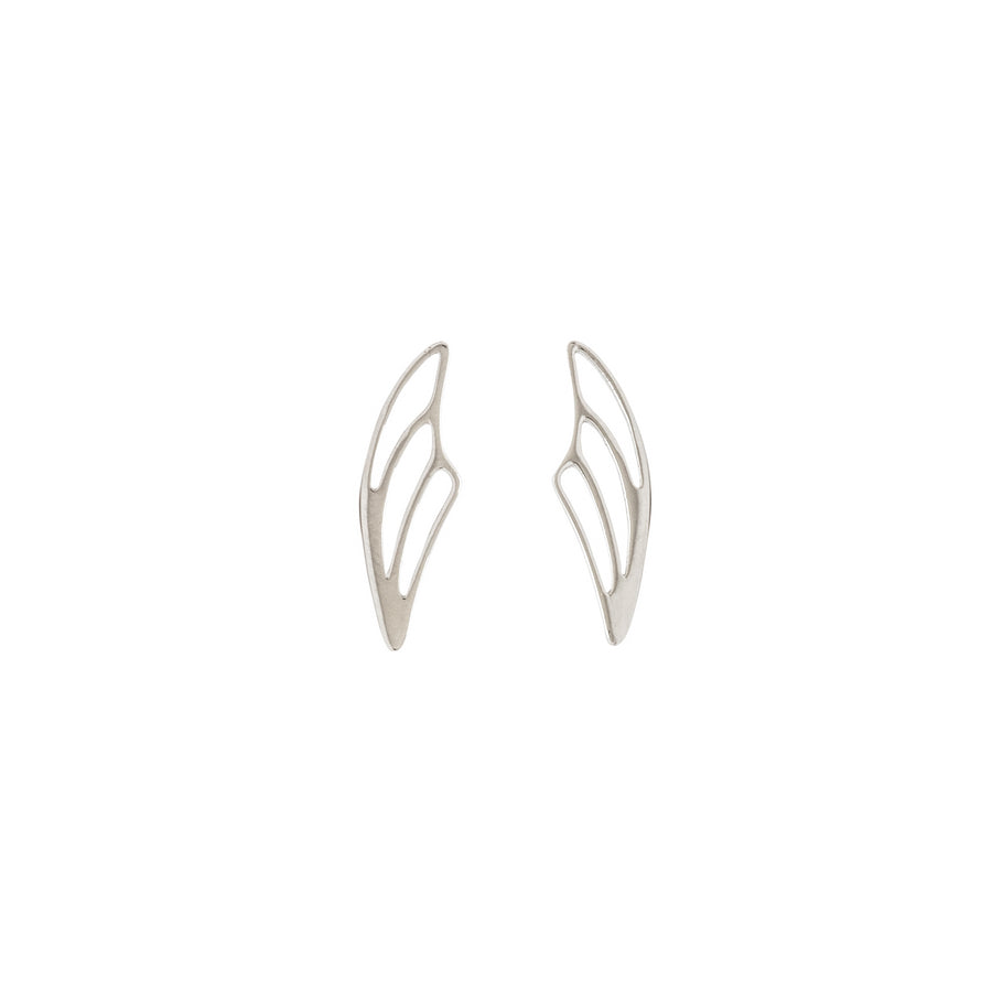 14k White Gold Fairy Wing Ear Climbers Earrings with Posts.