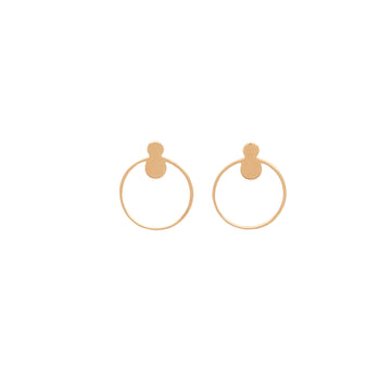 14k Yellow Gold Open Circle Front Facing Hoop Stud EarringG