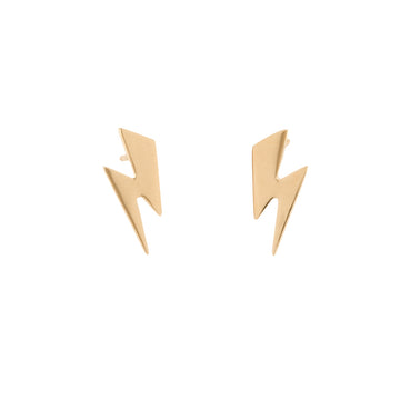 14k Yellow Gold Striking Lightening Bolt Earrings.
