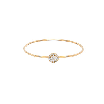14k Yellow Gold Around & Around Locking Diamond Bangle Bracelet