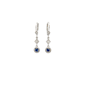 14k White Gold Deco Sapphire Dangle Drop Earrings