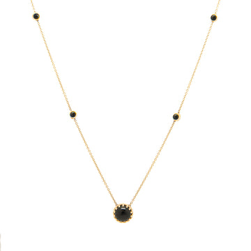 14k Yellow Gold Bewitched Black Onyx Station Necklace.
