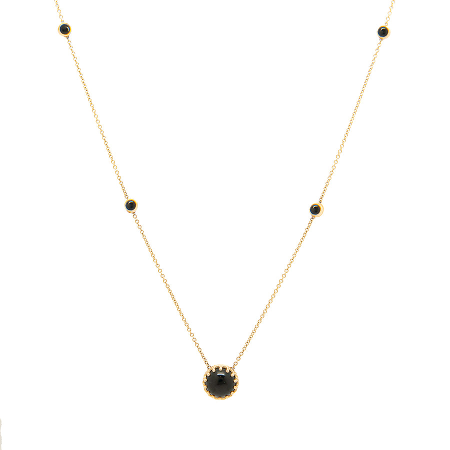 14k Bewitched Black Onyx Station Necklace