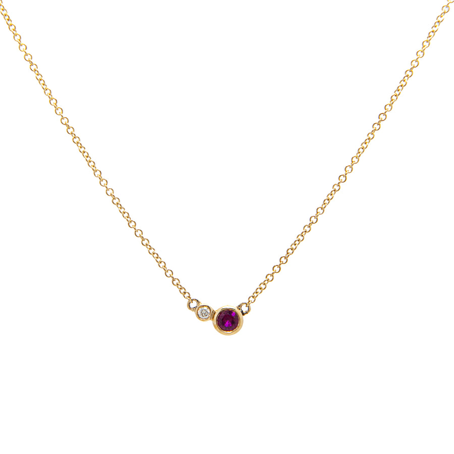 14k Double Delight Diamond & Ruby Petite Layering Necklace