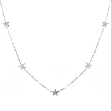 14k Gold Five Station Star Necklace