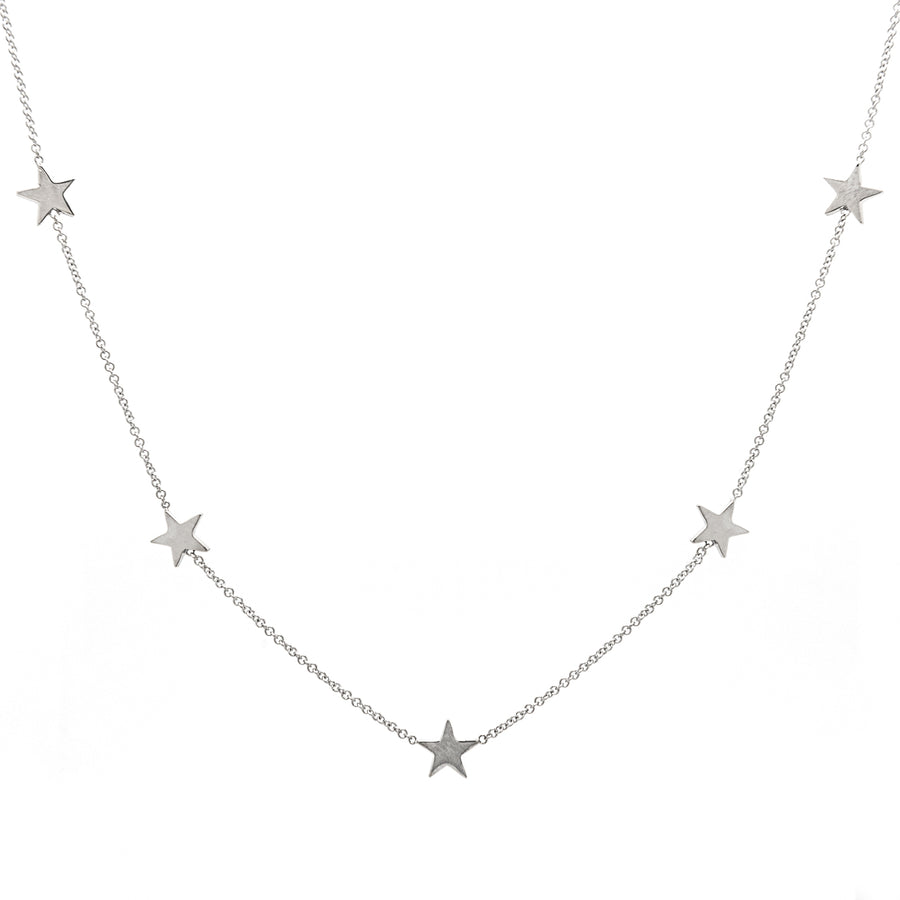14k White Gold Five Station Star Necklace.