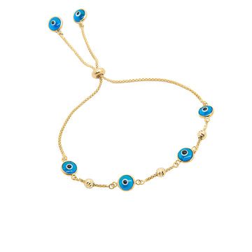14k Yellow Gold Light Blue Evil Eye Beaded Bolo Bracelet.