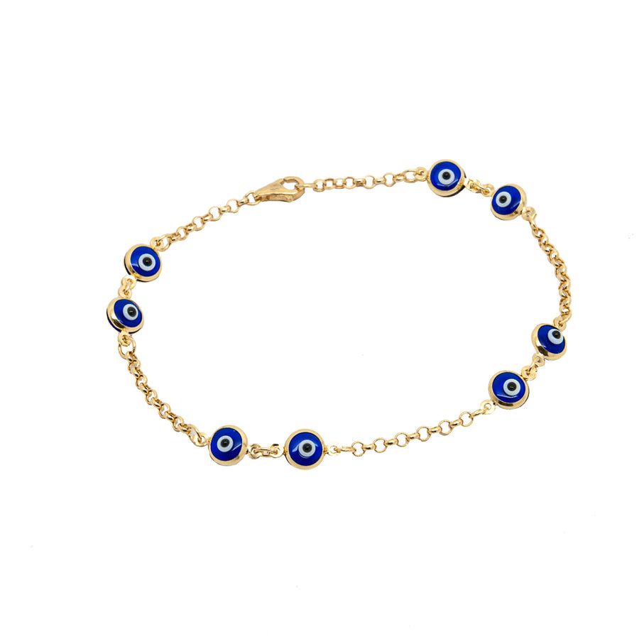 14k Yellow Gold Dark Blue Evil Eye Bead Chain Link Bracelet.