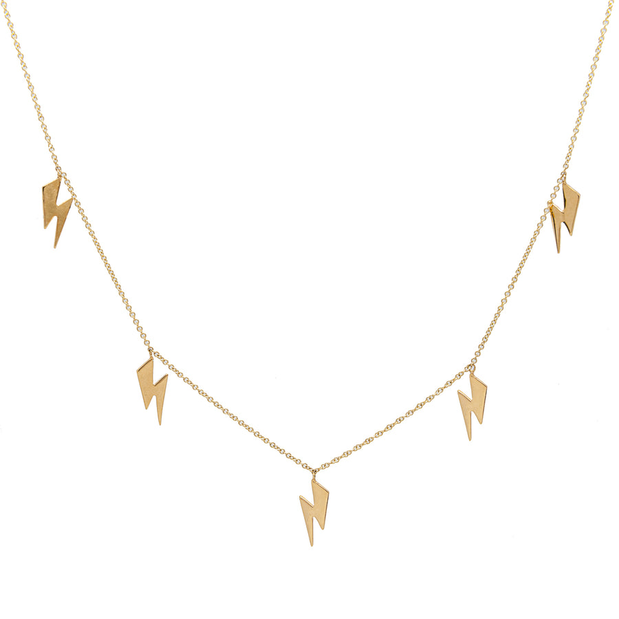 14k Yellow Gold Lightning Bolt Five Station Necklace.