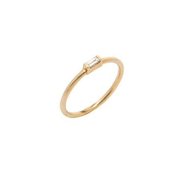 14k Yellow Gold East-West Diamond Baguette Stackable Ring.