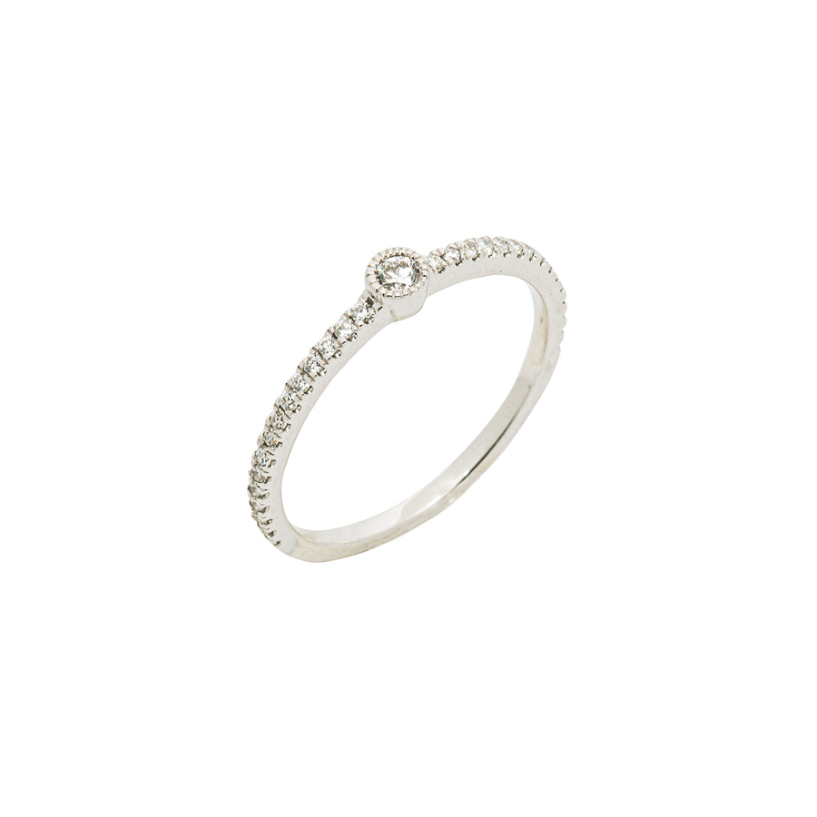 14k White Gold Single Bezel-Set Diamond Station Ring with Micro-Pave Band.
