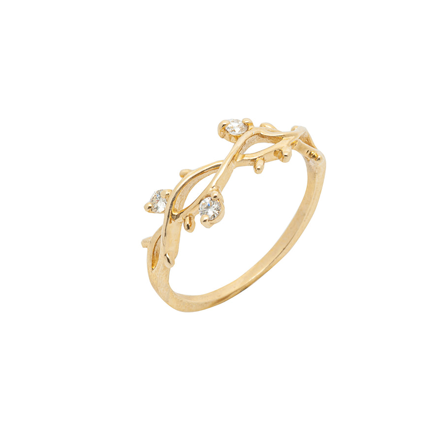 14k Yellow Gold Perfectly Perched Diamond Branch Ring.