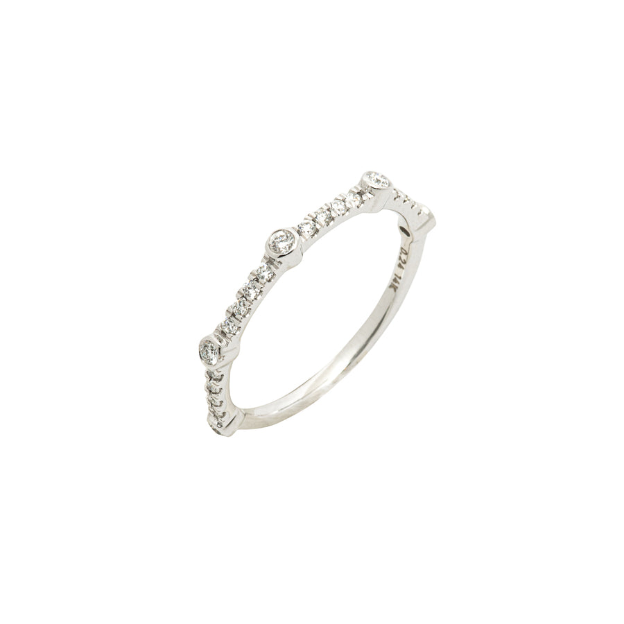 14k White Gold Bezel-Set Diamond 5 Station Ring with Micro-Pave Band.
