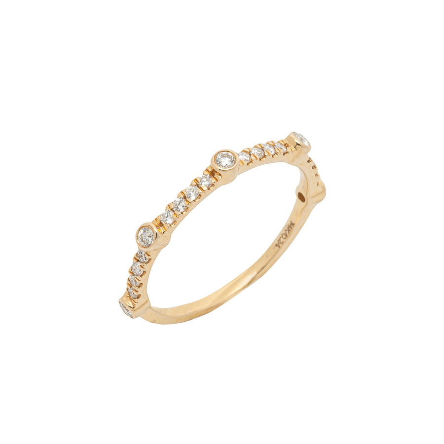 14k Yellow Gold Bezel-Set Diamond 5 Station Ring with Micro-Pave Band.