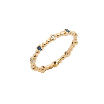 14k 10 Station Diamond & Sapphire Beaded Eternity Band