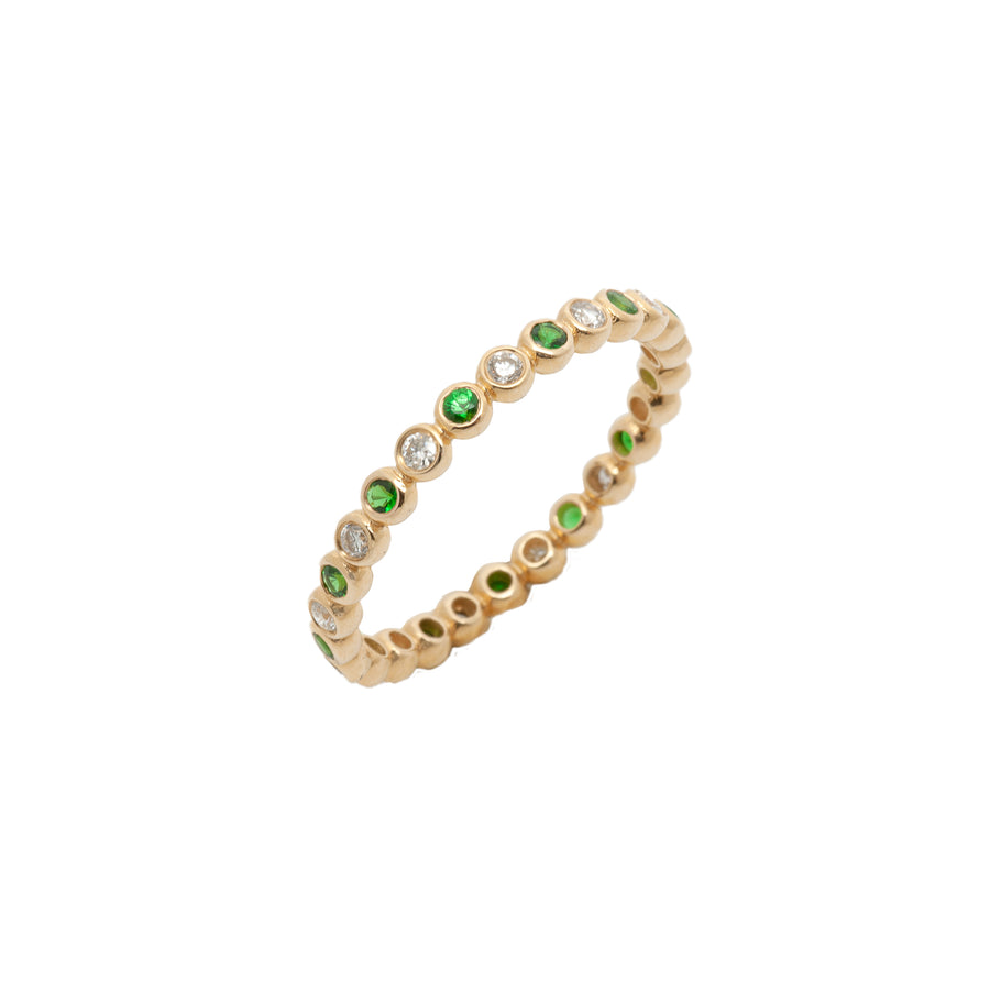 14k yellow gold bezel-set diamond and tsavorite eternity band